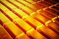 immagine realistica della foto 3d dei lotti della barra dorata Immagini Stock Libere da Diritti