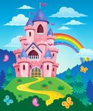 Immagine rosa 3 di tema del castello Immagini Stock