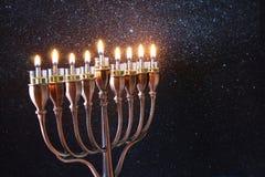 Immagine scura della festa ebrea Chanukah Fotografie Stock Libere da Diritti