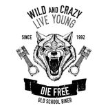 Immagine selvaggia di vettore del lupo per la maglietta del motociclo, tatuaggio, club del motociclo, logo del motociclo Immagine Stock Libera da Diritti