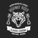 Immagine selvaggia di vettore del lupo per la maglietta del motociclo, tatuaggio, club del motociclo, logo del motociclo Immagine Stock