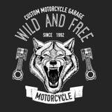 Immagine selvaggia di vettore del lupo per la maglietta del motociclo, tatuaggio, club del motociclo, logo del motociclo Fotografia Stock