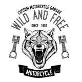 Immagine selvaggia di vettore del lupo per la maglietta del motociclo, tatuaggio, club del motociclo, logo del motociclo Immagini Stock