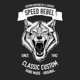 Immagine selvaggia di vettore del lupo per la maglietta del motociclo, tatuaggio, club del motociclo, logo del motociclo Fotografie Stock Libere da Diritti