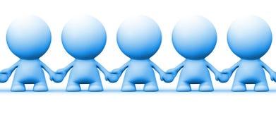 Immagine senza cuciture di tenersi per mano blu dei caratteri dell'essere umano 3d illustrazione vettoriale