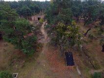 Immagine sovietica abbandonata e vandalizzata del fuco della base militare immagine stock libera da diritti