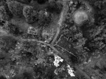 Immagine sovietica abbandonata e vandalizzata del fuco della base militare fotografia stock libera da diritti