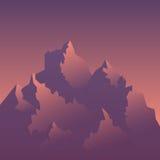 Immagine stilizzata delle montagne ad alba Immagine Stock Libera da Diritti