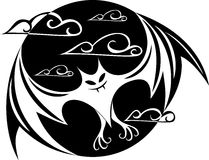 Immagine stilizzata di un pipistrello nel cerchio illustrazione vettoriale