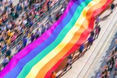 Immagine vaga moto delle bandiere gay dell'arcobaleno Fotografie Stock