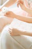Immagine vaga nel fondo beige rosa di colori pastelli Fotografia Stock