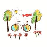 Immagine variopinta della bicicletta Fotografia Stock