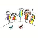 Immagine variopinta della famiglia felice Immagini Stock Libere da Diritti