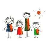 Immagine variopinta della famiglia felice Fotografia Stock