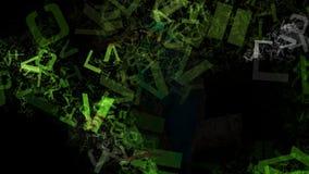 Immagine verde e nera di struttura di caos delle lettere di alfabeto illustrazione vettoriale