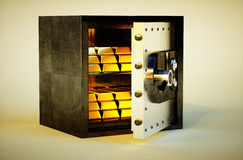 immagine viva realistica della foto 3d della cassaforte con le barre dorate Immagini Stock