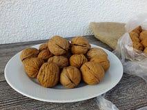 Immagini asciutte della noce in vari concetti, piatti e presentazioni nella borsa pronta a produrre noce di cocco, immagini delle Immagine Stock