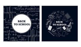 Immagini degli strumenti educativi e delle formule su un bordo di gesso royalty illustrazione gratis