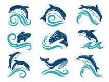 Immagini dei delfini e di altri animali marini Modello di progettazione di logo royalty illustrazione gratis
