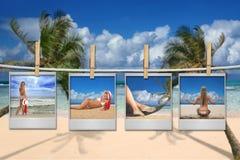 Immagini della pellicola di bella donna sulla spiaggia Fotografie Stock
