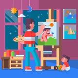 Immagini della pittura del padre con i loro bambini Fotografia Stock Libera da Diritti