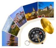 Immagini della repubblica Ceca le mie foto e bussola - concetto di viaggio Immagini Stock