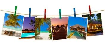 Immagini della spiaggia delle Maldive & x28; il mio photos& x29; sulle mollette da bucato Fotografia Stock Libera da Diritti