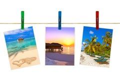 Immagini della spiaggia delle Maldive & x28; il mio photos& x29; sulle mollette da bucato Immagini Stock