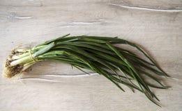 Immagini delle cipolle verdi e del prezzemolo fresco per la prima colazione Fotografia Stock