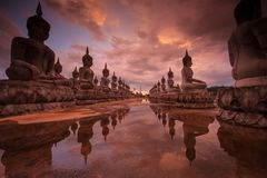 Immagini di Buddha, Wat Thung Yai, Nakhon Si Thammarat, Tailandia fotografia stock libera da diritti