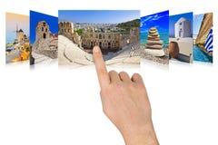 Immagini di corsa della Grecia di scrolling della mano Fotografie Stock Libere da Diritti