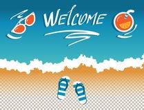 Immagini di vettore del sito dell'intestazione, copertura, rete sociale della posta, con l'invito al mare illustrazione di stock