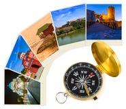 Immagini di viaggio della Serbia le mie foto e bussola Fotografie Stock Libere da Diritti