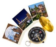 Immagini di viaggio della Spagna e bussola (le mie foto) Immagine Stock Libera da Diritti