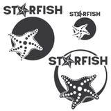 immagini differenti consistenti di un'illustrazione di una stella marina nel cerchio e nel ` delle stelle marine del ` dell'iscri Immagini Stock