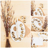 Immagini differenti delle uova di quaglia con i salici del ramoscello, fondo di legno, vista superiore Fotografie Stock