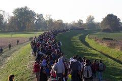 Immagini drammatiche dalla crisi slovena del rifugiato Immagini Stock