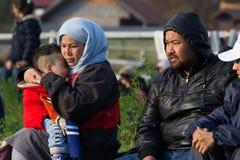 Immagini drammatiche dalla crisi slovena del rifugiato Fotografie Stock