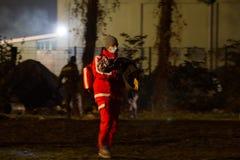 Immagini drammatiche dalla crisi slovena del rifugiato Fotografia Stock