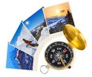 Immagini e bussola dell'Austria dello sci delle montagne Fotografia Stock