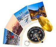 Immagini e bussola dell'Austria dello sci delle montagne Fotografia Stock Libera da Diritti