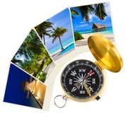 Immagini e bussola delle Maldive della spiaggia Fotografia Stock
