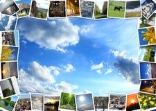 Immagini eterogenee sui precedenti del cielo blu Fotografia Stock