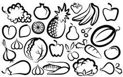 Immagini semplici delle verdure e della frutta Immagine Stock