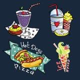 Immagini stabilite del gelato, hot dog di vettore degli alimenti a rapida preparazione Illustrazione Vettoriale