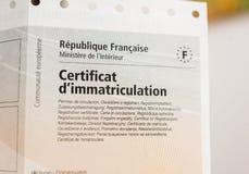 Immatriculation k do ` do certificat d do certificado de matrícula do veículo Fotos de Stock Royalty Free