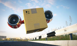 Immediate cargo delivery by creative vehicle Stock Images
