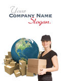 Immediate delivery by female courier Stock Photo