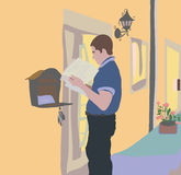 Immediately upon receipt of a letter in the mail, read the messa. Flat design, the man received a letter in the mail. People person standing near a privat house Royalty Free Stock Photos