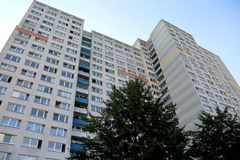 Immense building with many apartments in the periphery Royalty Free Stock Images